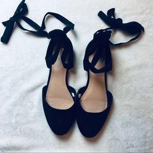 Lace Up Ribbon Black Ballet Flats